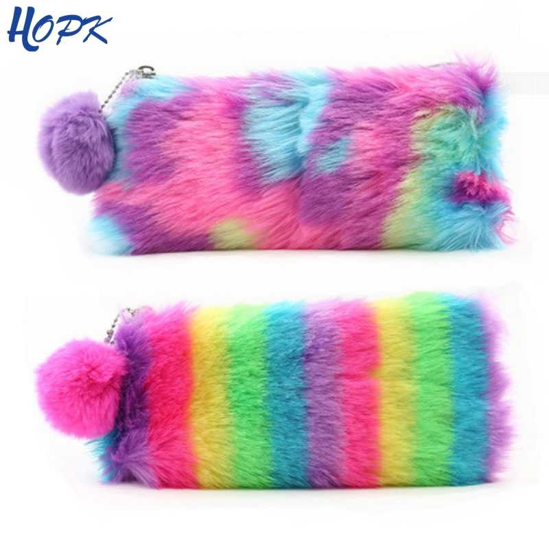 2019 Cute Multi-Color Rainbow Pencil Case Women Girls School Supplies Faux Rabbit Fur Ball Makeup Storage Pompom Cosmetic Bag