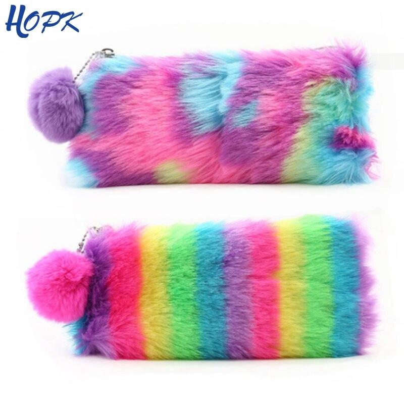 2019 Cute Multi-Color Rainbow Pencil Case Women Girls School Supplies Faux Rabbit Fur Ball Makeup Storage Pompom Cosmetic Bag
