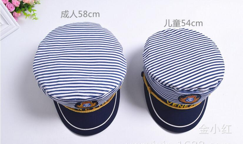 2019 5x New Striped Navy Cap for Adult Children Fashion Captain Hats Caps Women Men Boys Girls Sailor Hats Army Naval Caps in Women 39 s Baseball Caps from Apparel Accessories