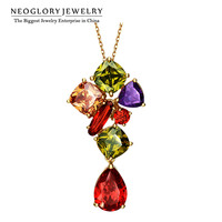 Neoglory AAA Zircon Light Yellow Gold Color Colorful Necklace Pendant For Women Fashion Jewelry 2020 New Birthday Gift JS5 QC