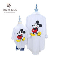 2015 New Spring And Autumn Mother And Daughter Clothes Family Clothing Set Korean Fashion Loose Shirt
