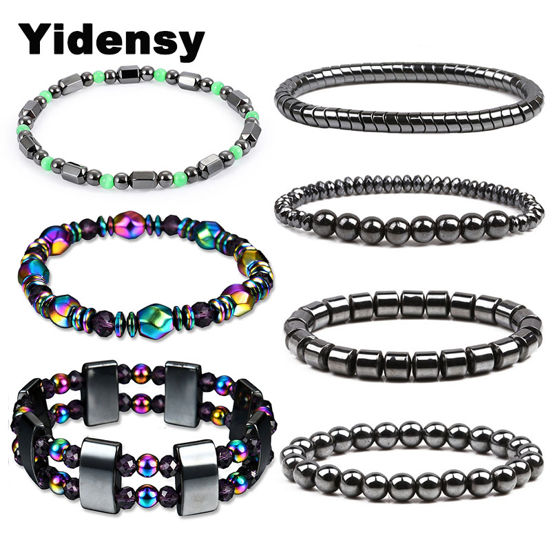 Yindesy Fashion Hematite <font><b>Beads</b></font> <font><b>Bracelet</b></font> Elastic Stretch Strand <font><b>Bracelet</b></font> for Women <font><b>Men</b></font> Lose Weight Healthy Care Therapy Jewelry image