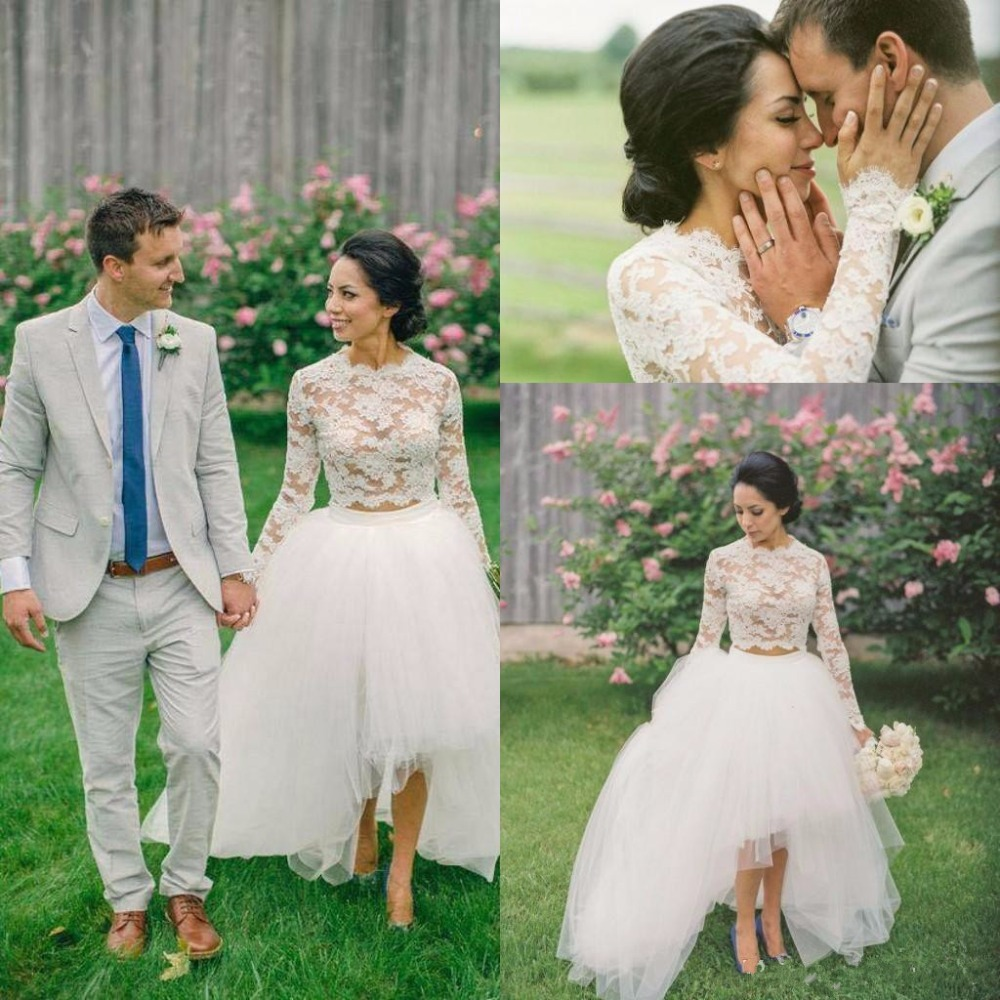 2017 country high low 2 piece wedding dresses long sleeves for 2 piece wedding dresses