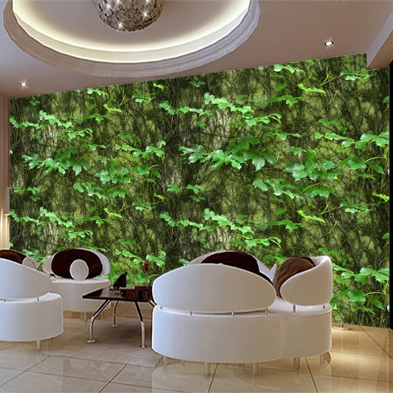 Photo Wallpaper 3D Stereo Green Leaf Murals Living Room Restaurant Backdrop Wall Cloth Waterproof Eco-Friendly Mural Wall Papers