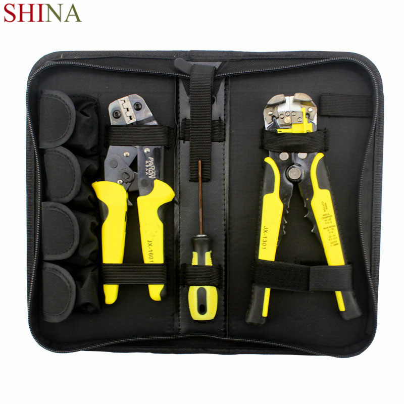 SHINA  Multi Tools Wire Crimper Tools Kit Engineering Ratchet Terminal Crimping Plier Wire Crimper +Wire Stripper+S2 Screwdriver