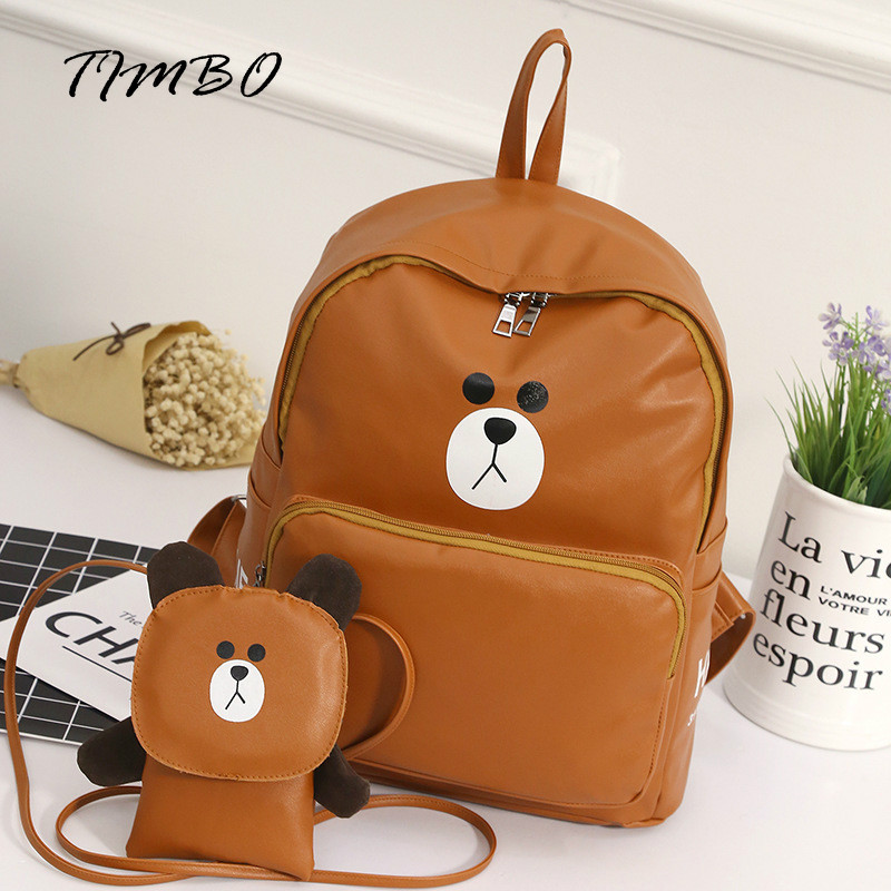 2017 New arrival Line Friends Cute Cartoon Brown Bear pu Women Backpack with Small phone Bags