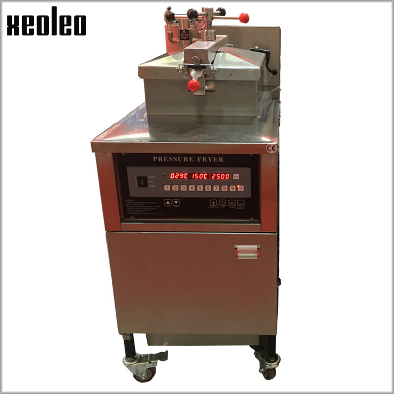 XEOLEO Digital control Pressure fryer Commercial Gas Chicken/duck Frying machine 25L With Oil pump&filtration 201# S/S Gas fryer