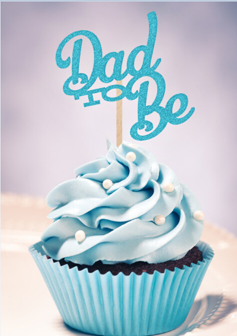 Turquoise Glitter Dad To Be Cupcake Toppers Baby Shower