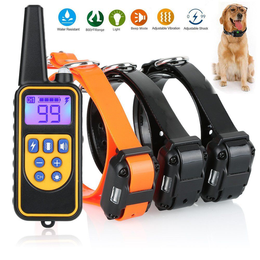 800 Meters Remote Control Dog Electric Collar IP6X Waterproof Dog Training Collar 1 Drive 2 Electric Dog Collar Dog Shock Collar