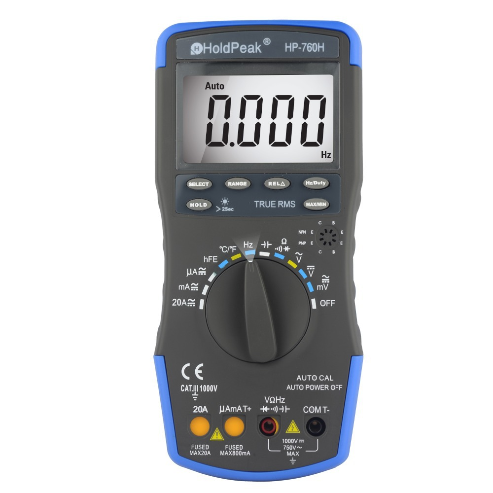 купить HoldPeak HP-760H True RMS Auto Ranging Digital Multimeter Meter with Min Max Value Frequency/Temperature/Capacitance Test по цене 1618.34 рублей