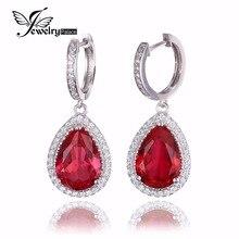 JewelryPalace 12.4ct Creado Pear Cut Rubíes Rojo de Lujo Cuelga Los Pendientes Joyería Esterlina del Sólido 925 de Plata Regalo de Boda Para Las Mujeres
