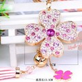 FREE SHIPPING Full Rhinestones Four-leaf Five-leaf Clover Car Keychain Keyring Women Female Novelty Gifts Wholesale and Retail