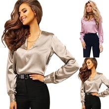 7ffa481ad Las mujeres blusa de seda de manga larga camisas de mujer rosa gris Mujer  Tops y Blusas Plus tamaño S-2XL trabajo OL Blusas muje.