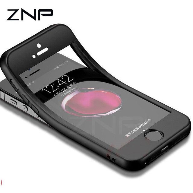 ZNP Fashion Silicon Soft Phone Cases For iPhone 7 6 8 5 5s SE 360 Full Cover Case For iPhone 6 6s 7 8 Plus Protection Phone Bags