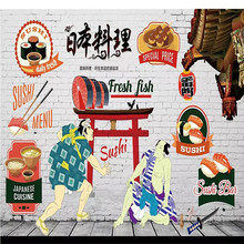 Custom wallpaper murals - Hand painted Japanese food sushi wall high-end covering