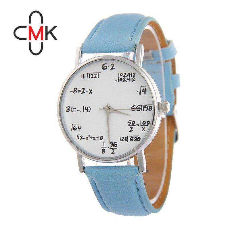 Nueva cmk matemáticas avanzadas moda casual reloj de cuarzo mujeres correa de cuero reloj relogios feminino cumpleaños Navidad regalo
