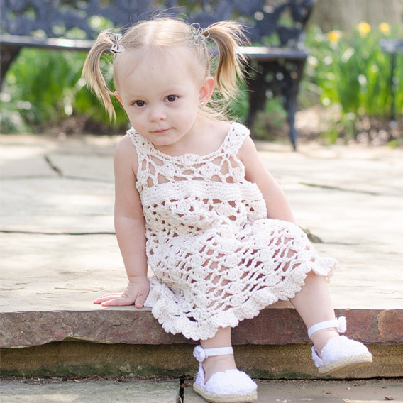 QYFLYXUE- Handmade crochet dress, cotton baby dress, handmade by hand. Multicolor can be customized