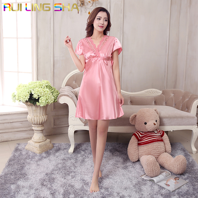 Bathrobe Long Pink Nightgown Women Lace Pijama Mujer Short Sleeve V-Neck  Above Knee Nightgowns d7298baf3b2a