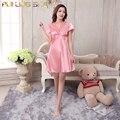 Roupão longo rosa camisola mulher Lace Pijama Mujer Nightgowns Sleepshirts vestido de manga curta V pescoço acima do joelho de cetim de seda