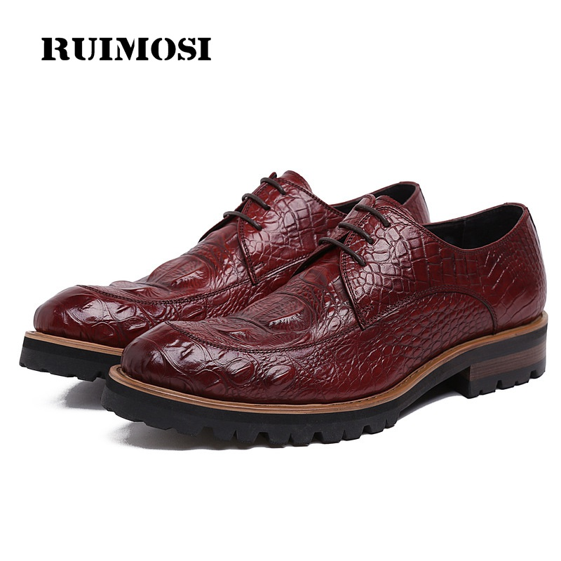 RUIMOSI New Formal Man Crocodile Dress Shoes Genuine Leather Platform Oxfords Luxury Brand Men's Wedding Bridal Footwear KE65