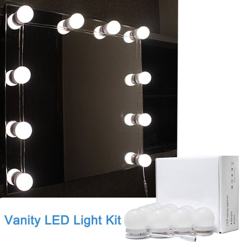 10 Pcs LED Vanity Mirror Lights Kit With Dimmable Light Bulbs,Lighting Fixture Strip For Makeup Vanity Table Set USB Charge New