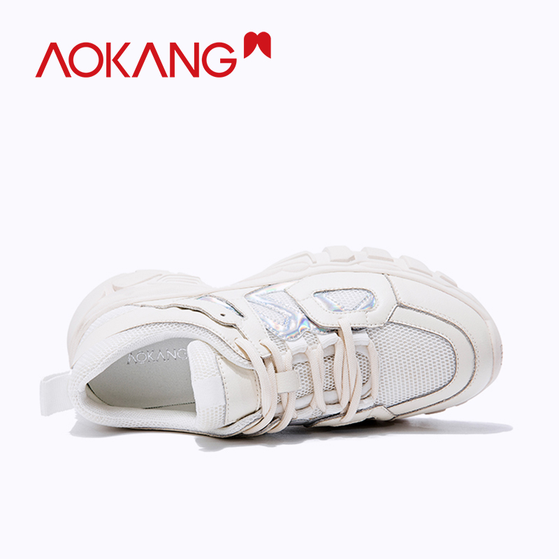 AOKANG 2019 fashion ins shoes woman casual shoes soft sneakers lace up platform women shoes summer walking shoes high quality in Women 39 s Flats from Shoes