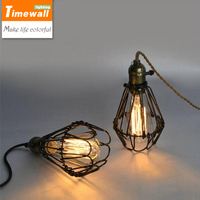 2016 Km 110 240v Deco Vintage Industrial Antique Metal Cage Pendant Light Factory Wire Steel Lampshade Lamps New Pendentes Luz