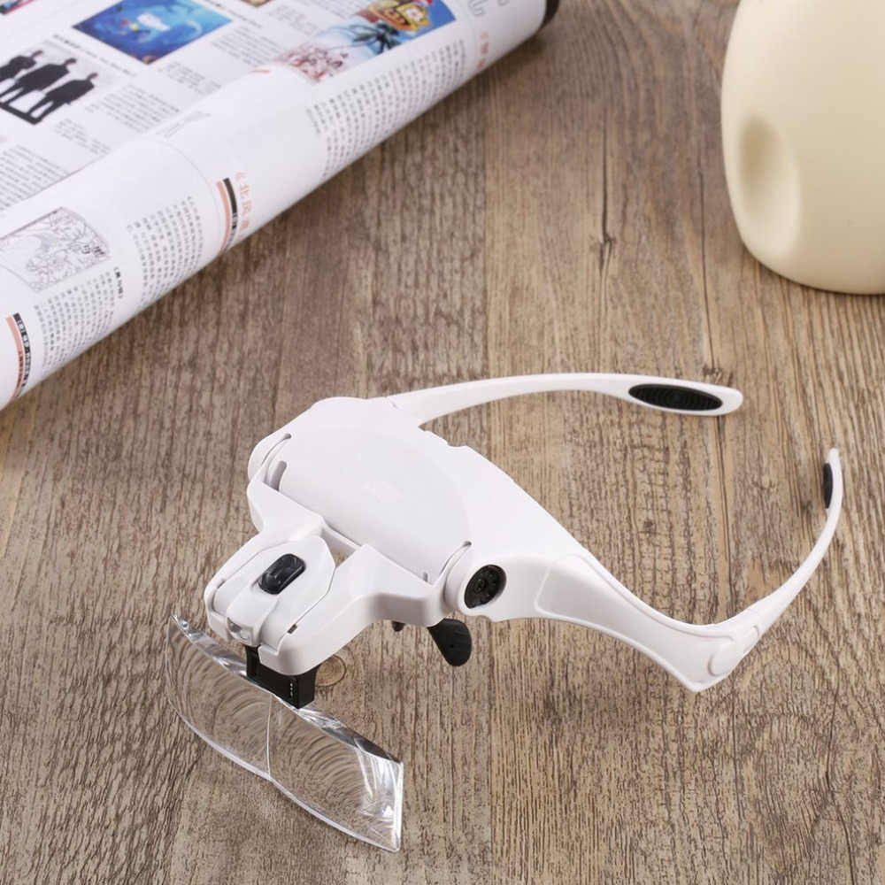 5Pcs 2LED Head Lamps Lens Interchangeable Headband Magnifier Glasses 1.0X/1.5X/2.0X/2.5X/3.5X Magnifications Magnifying Glasses