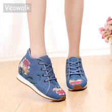 Veowalk Winter Women Flat Shoes Chinese Old BeiJing Tourism Embroidered Floral Singles Walk Dance Canvas Shoes Woman Size 34-41