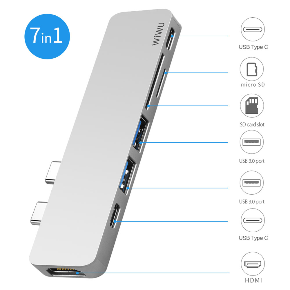 WIWU USB Hub 7 in 1 Type-C Hub 3.0 Dual Type-C for Macbook Pro USB-C Adapter with HDMI 4K Video PD Card Read SD/TF 3.0 USB Port ssk scrm 060 multi in one usb 2 0 card reader for sd ms micro sd tf white