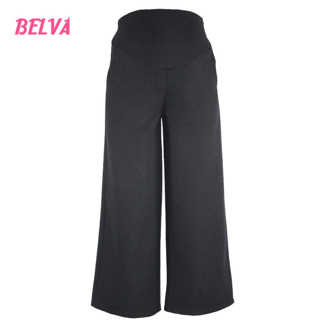 Belva 2017 Pregnant women Fashion High Waist Plain Wide Leg Pants Maternity Pants maternity Cropped pants Winter 548