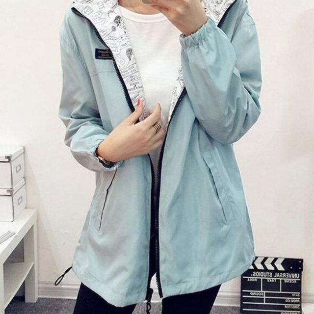 Spring Autumn Cartoon Print Hooded Two Side Wear Jacket 5