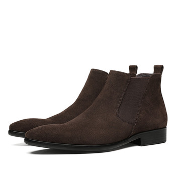 Fashion Black / Brown Chelsea Boots Mens Dress Boots Suede Leather Casual Shoes Male Ankle Boots