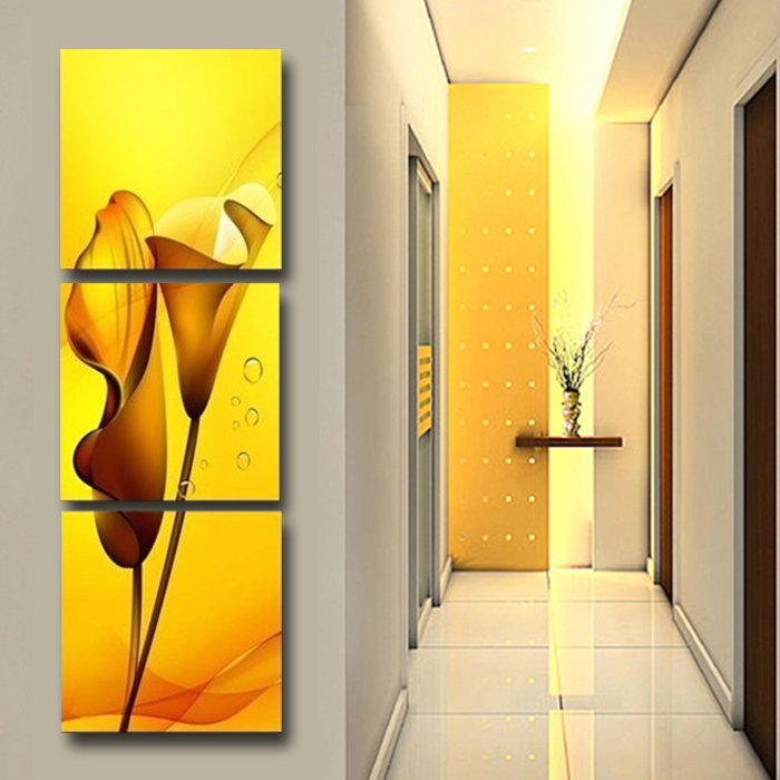 3 Panels Painting Wall Hanging Canvas Picture Paint Modern Living Room  Summer Style Yellow Lily Vertical