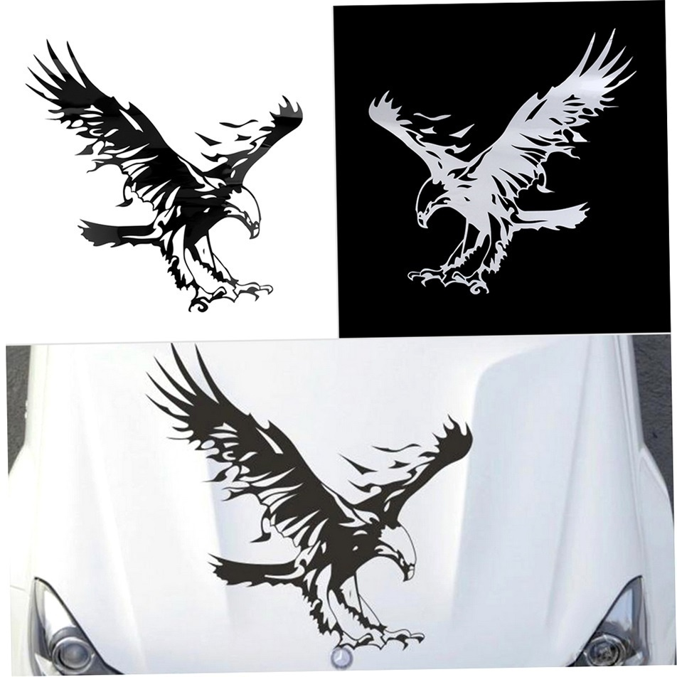 DEDC Eagle Pattern Reflective Material Car Stickers Car Engine Hood Decal