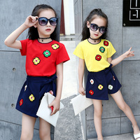 Teenage Girls Children Clothing Set Kids Embroidery Floral T Shirts Girls Skirts Pants Shorts Outfits 4