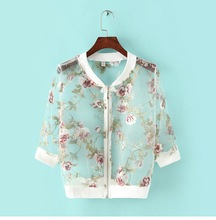 2015 Summer Women's Fashion Organza Jacket foral embroidery Short female's jacket Three Quarter Zipper Tops