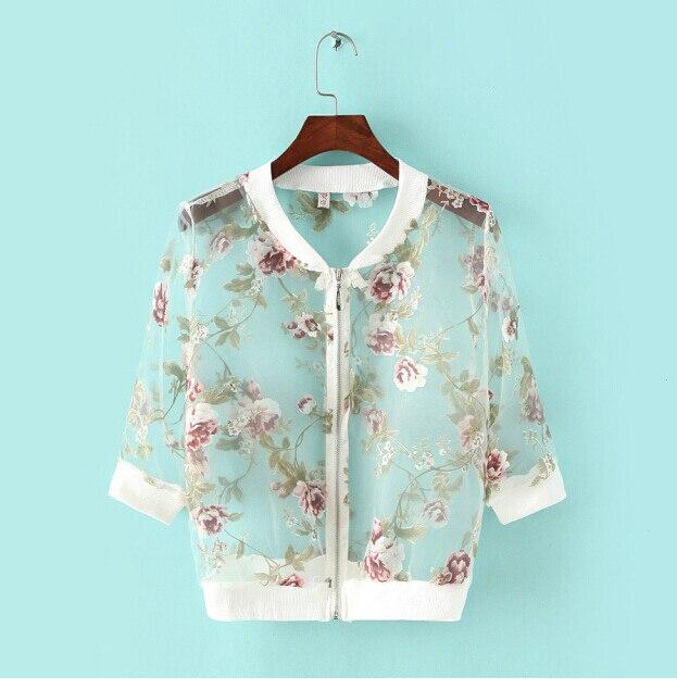 2015 mulheres Verão Moda Organza Jacket jacket Três Quartos das foral bordado Curto feminino Zipper Tops
