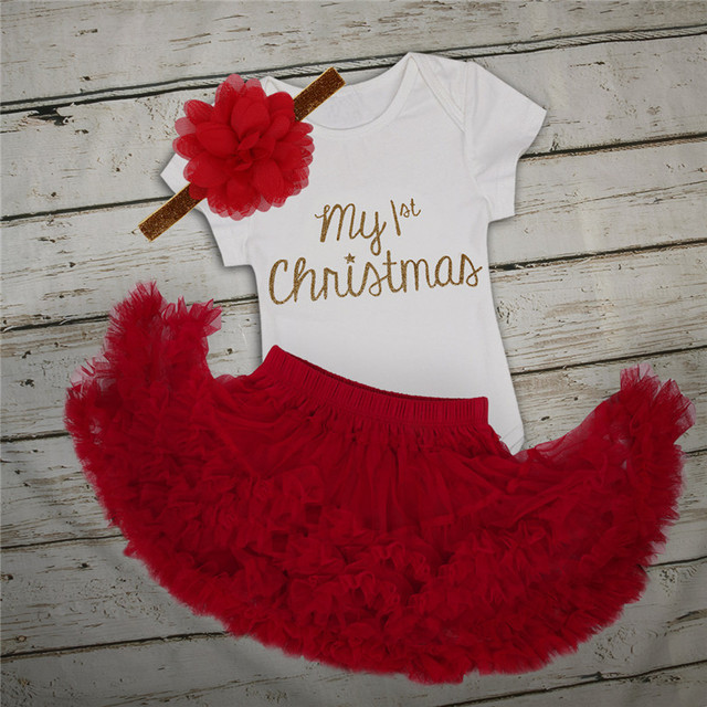 42eb4ecc3dc iEFiEL Newborn Infant Toddler Baby Girls Outfits First Christmas Romper  with Tutu Skirt Flower Headband Xmas Romper Baby Set