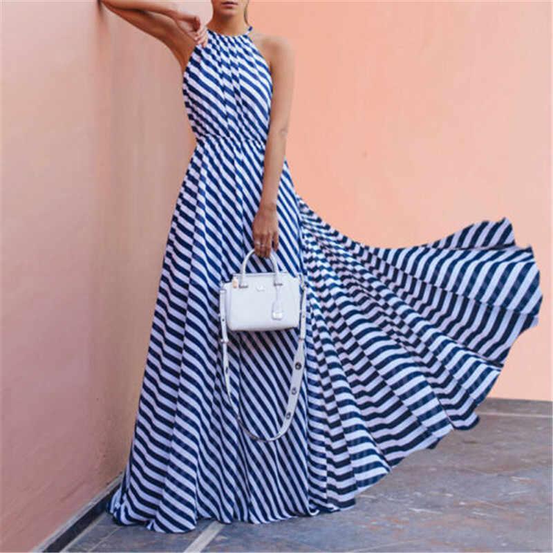 ผู้หญิงฤดูร้อน Boho Long Maxi ชุดเดรสแขนกุด Backless Halter ชุดลายสีฟ้า Vestidos Evening Party Beach Dresses Sundress