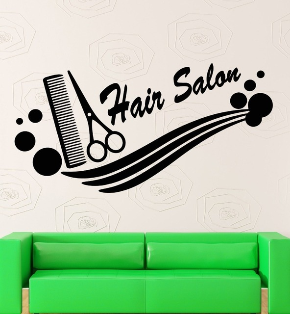 Wall Sticker Vinyl Decal Hair Salon Logo Barber Tools Haircut