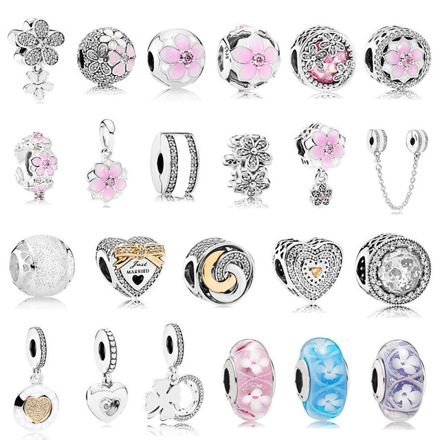 2017 Spring Magnolia Bloom Charm Beads fits for  Bracelet 925 Sterling Silver Enamel Charms for Women DIY Jewelry.