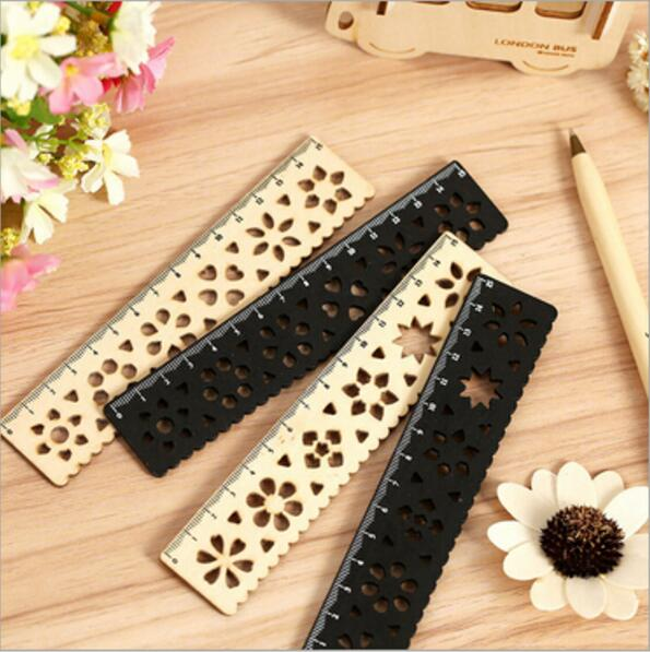 24pcs/lot NEW Creative Vintage Lace Flower Hollow Style Wooden Ruler/wood Stationery/15 CM Straight Ruler