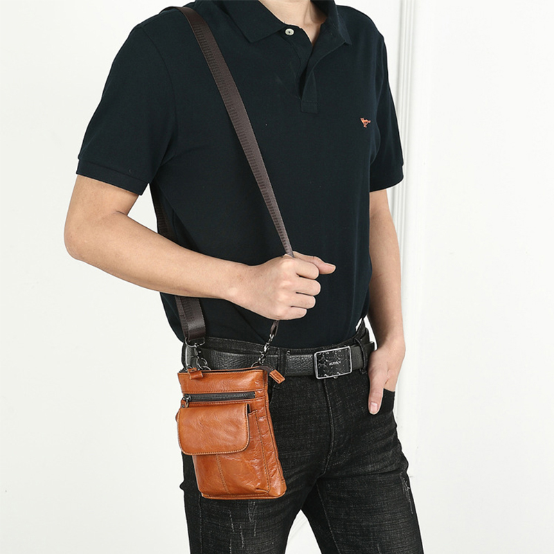BISI GORO vintage cow leather men waist bag Multi-function Travel Pouch Waist fashion phone Wear a belt pocket Creative gift