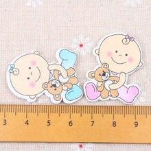 Azul/rosa bebê com urso padrão scrapbooking artesanato enfeite para costura artesanal decoração para casa 29x35mm 20 peças