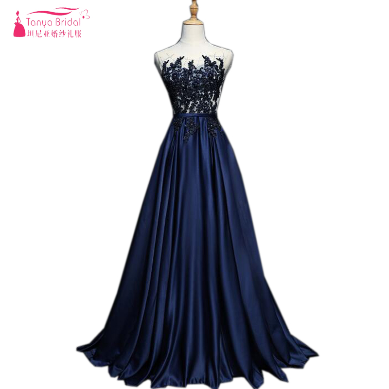 Timeless Elegant Dark Navy   Prom     Dresses   Lace Beaded A Line Long Evening   Dresses   Apecial Occasion Gowns Sheer Neck ZP074