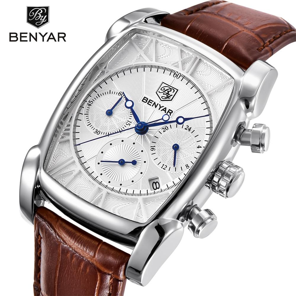 BENYAR Fashion Sport Chronograph Men's Watches Waterproof 30M Genuine Leather Strap Luxury Classic Rectangle Case Quartz Watch