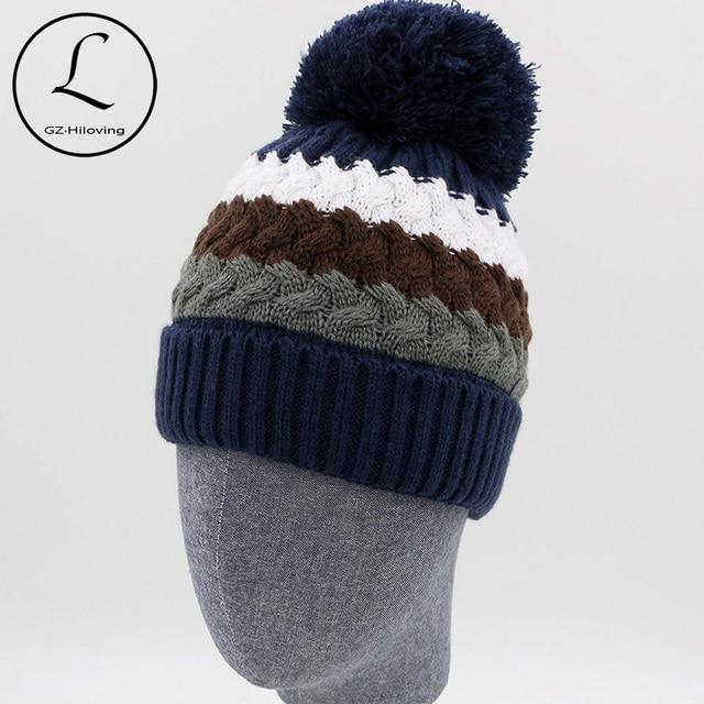 a4b99b60434 GZHILOVINGL Thicken Boys Skullies Beanies Warm Winter Knitted Hats Brand  Design Striped Hat For Children Girls Caps Bonnet 61027