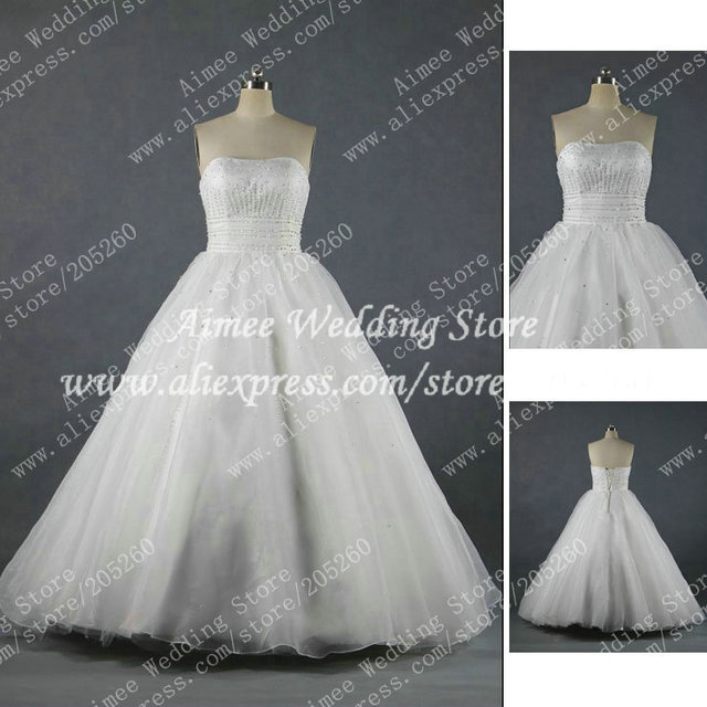 RA225 Free Shipping Strapless Beaded Real Sample Organza Ball Gown Wedding Dress Bridal Gown