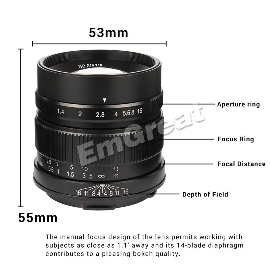 7artisans 55mm F1.4 Large Aperture Portrait Prime Manual Fixed Focus Lens APS-C for Leica T-mount Camera for Leica T TL TL2 CL